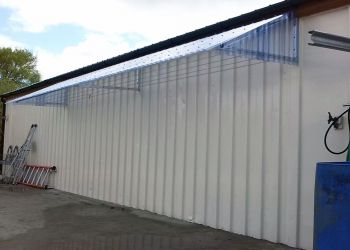 Clothesline Canopy on steel tech shed